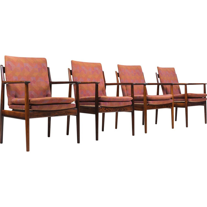 Vintage set of 4 model 341 rosewood lounge chairs by Arne Vodder for Sibast