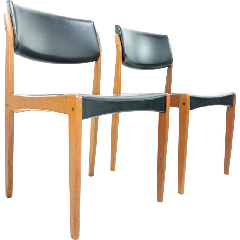 Vintage pair of Bramin dining chairs in teak & black vinyl, 1960s