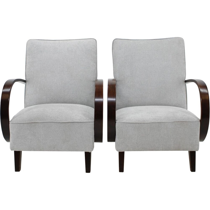 Set of 2 oak armchairs by Jindřich Halabala, 1960