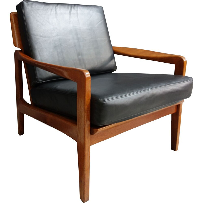 Vintage black leather and teak relax chair, Denmark, 1960s