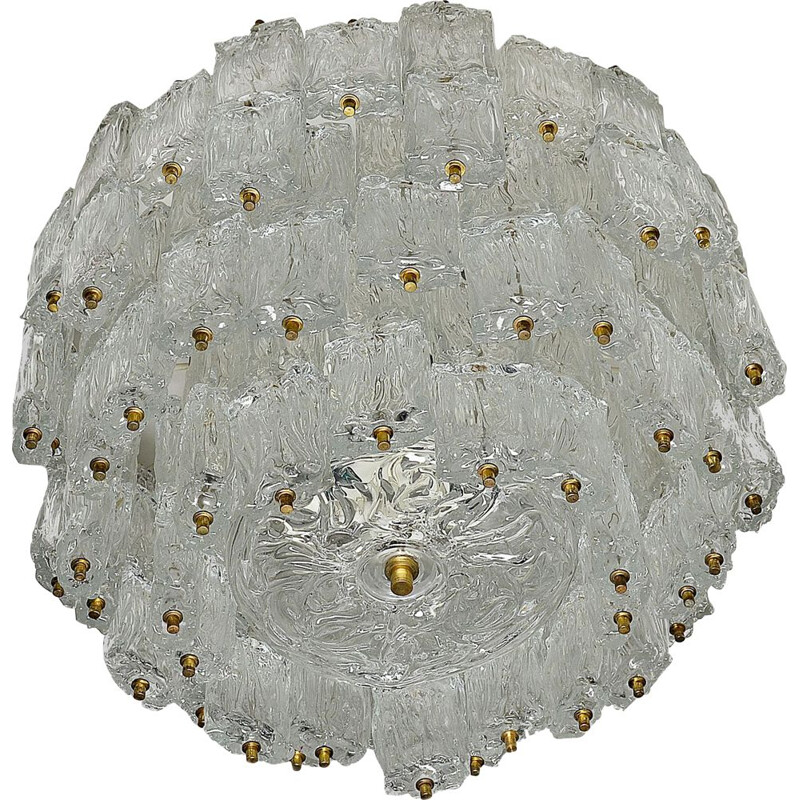 Large vintage glass chandelier by Aureliano Toso for Venini, Italy, 1960s