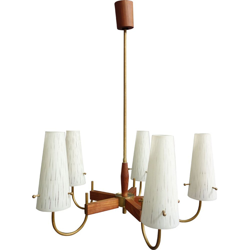 Vintage Danish teak and glass ceiling lamp with 5 arms, 1960s