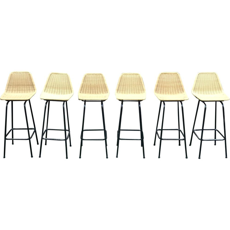 Set of 6 vintage bar stool by Dirk van Sliedregt for Rohe Noordwolde 1960