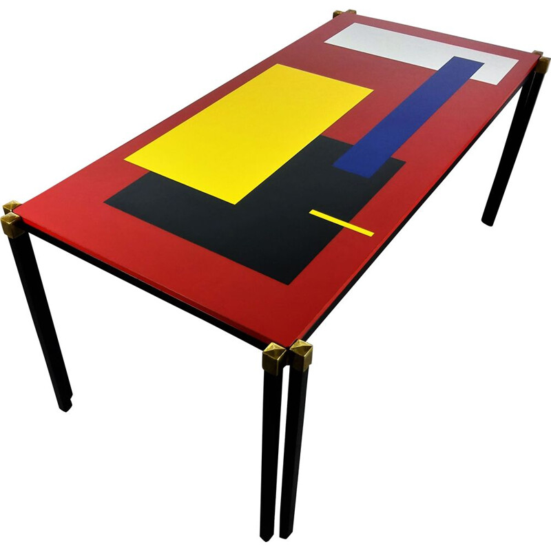 Vintage coffee table with geometrical decoration 1960