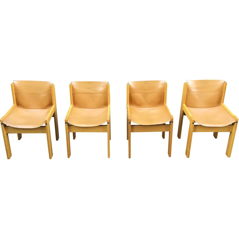 Set of 4 vintage leather dining chairs by Ibisco Italy