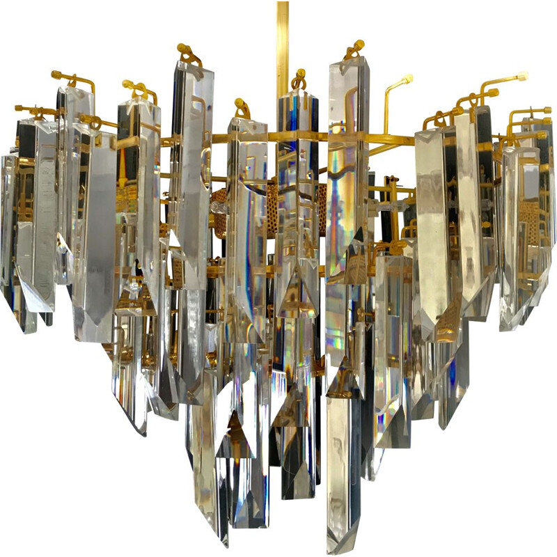 Vintage chandelier in iridescent murano glass by Venini 1980