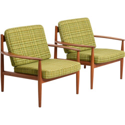 """Paire of France and Son """"118"""" easy chairs, Grete JALK - 1960s"""