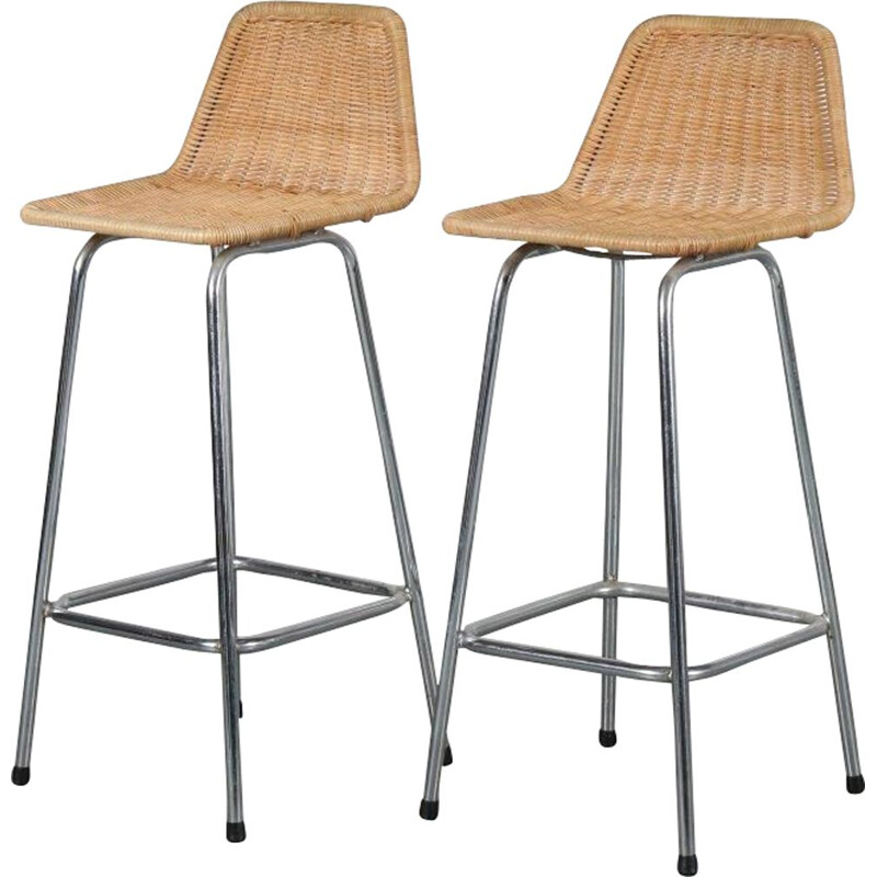 Pair of wicker bar stools designed by Dirk van Sliedregt for Gebroeders Jonkers, 1950s