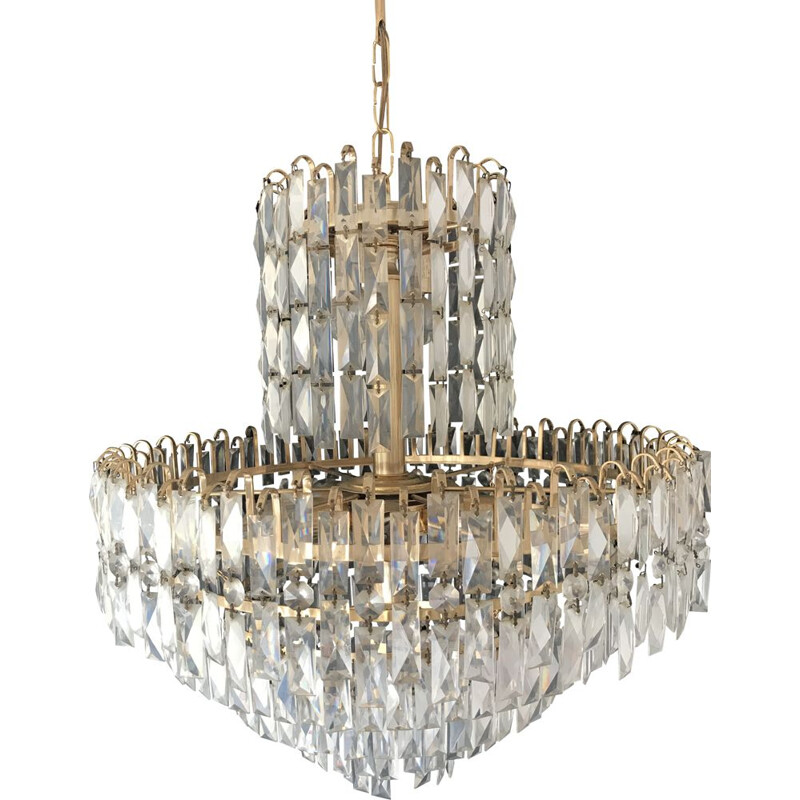 Vintage chandelier in 1970 murano crystal glass