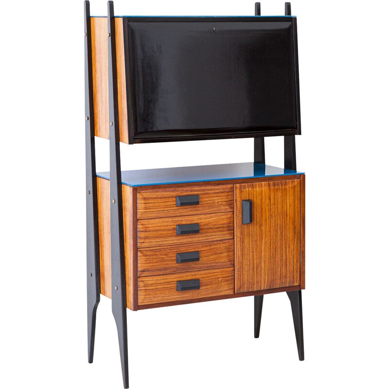 Vintage Italian Blonde Rosewood highboard with Bar, 1950