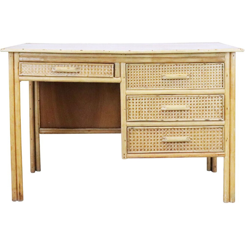 Vintage rattan and canage desk