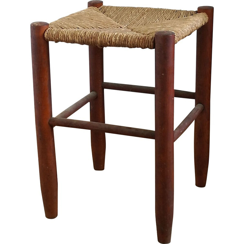 Vintage wooden and straw stool, 1950s