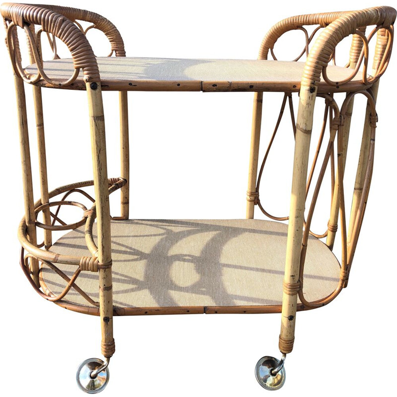 Vintage two-tray rattan and bamboo trolley, 1960s