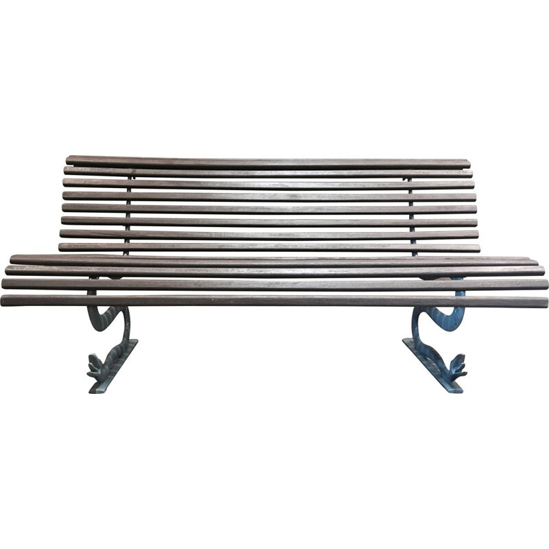 Outdoor bench vintage wood and metal