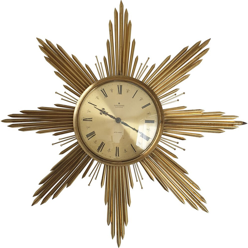 Large brass vintage Sunburst wall clock by Junghans, 1960s