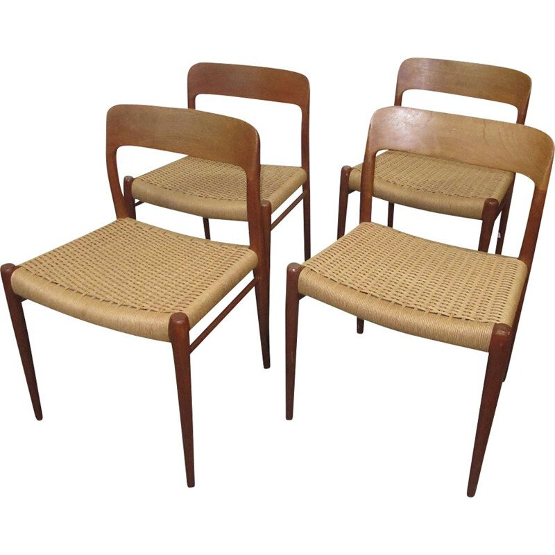 Set of 4 teak vintage 75 dining chairs by Niels Otto Møller for J.L. Møllers, 1960s