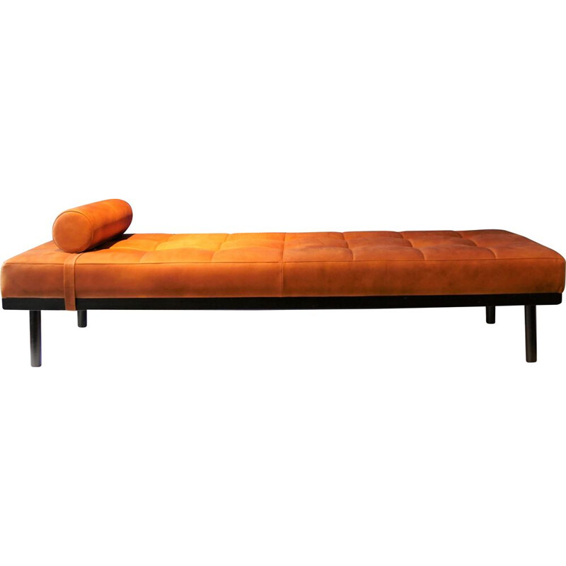 Vintage French daybed in brown leather, 1950