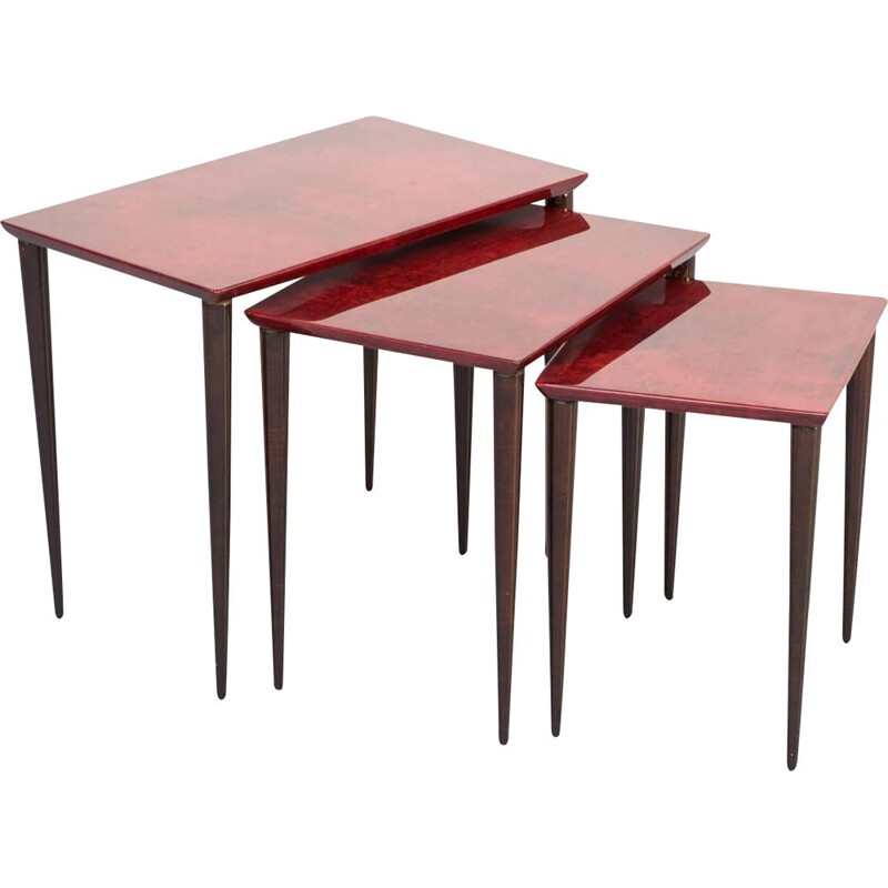 Vintage Nesting Tables in red goat skin by Aldo Tura for Tura Milano 1960
