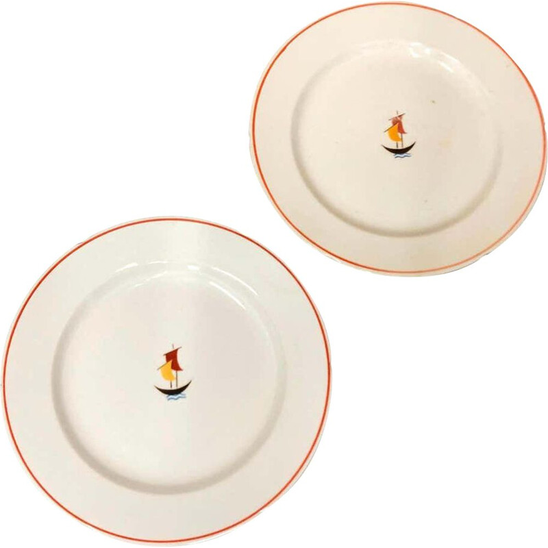 Set of Two Ceramic Plates by Gio Ponti for S.C. Richard 1935