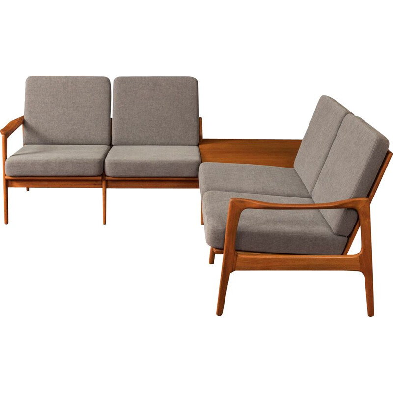 Angle sofa solid teak from the 1960s