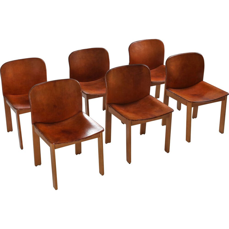 Set of 6 Vintage Cognac Leather Dining Chairs by Afra & Tobia Scarpa, 1970s