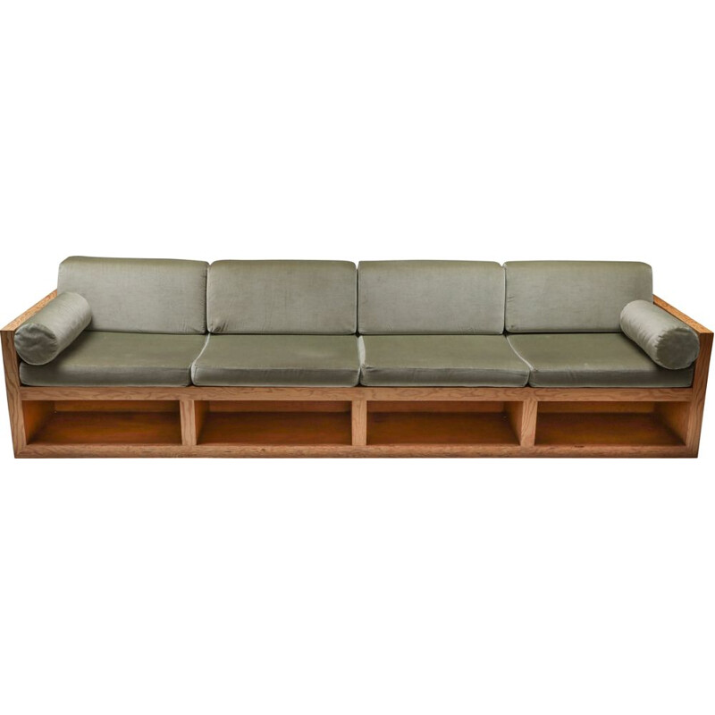 Vintage sofa in pitch pine and velvet, 1960s