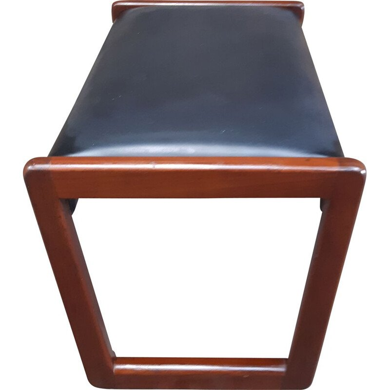 Vintage teak and black leatherette Foot Stool