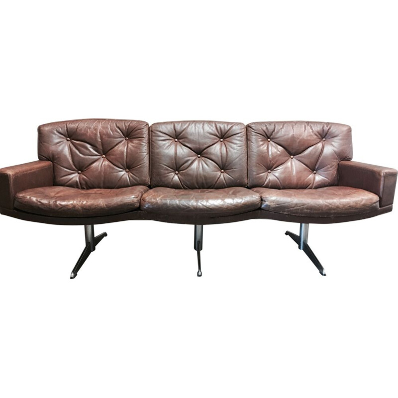 Vintage 3-seater sofa in leather and chrome, 1950s