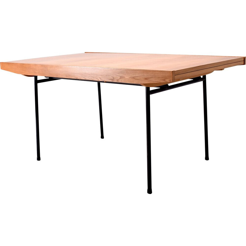 Vintage elm dining table by Alain Richard for Meubles TV, 1950s