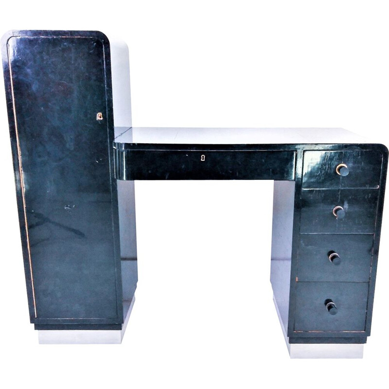 Vintage Ebonised Art Deco Desk 1950
