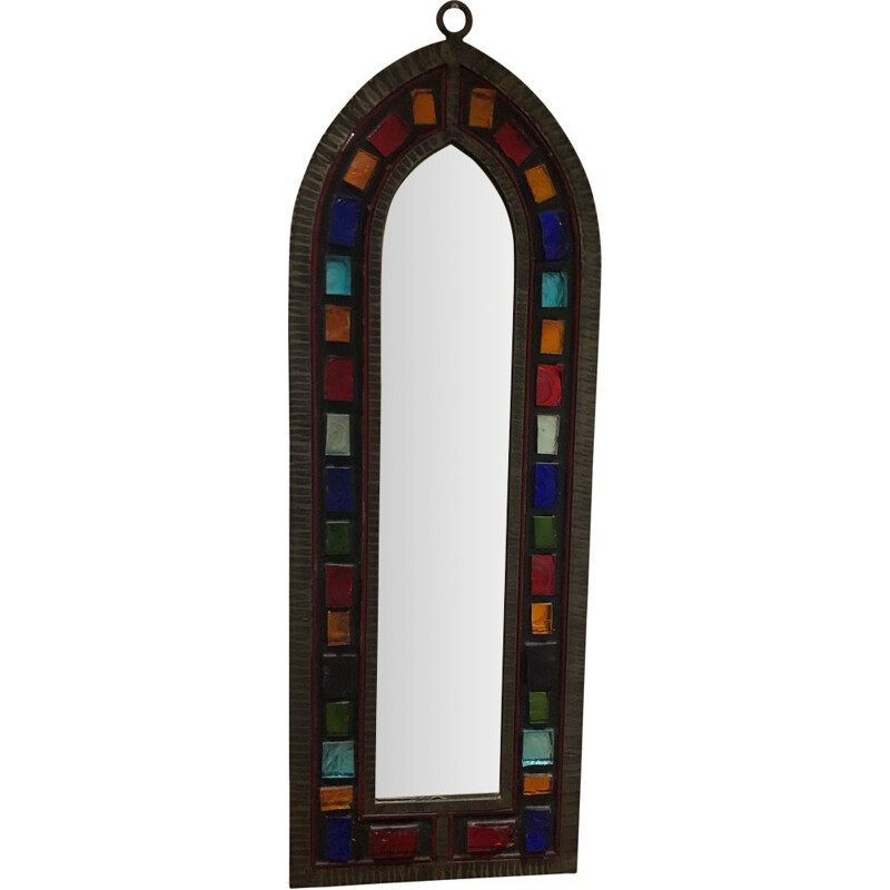 wrought iron rough mirror with glass inclusion