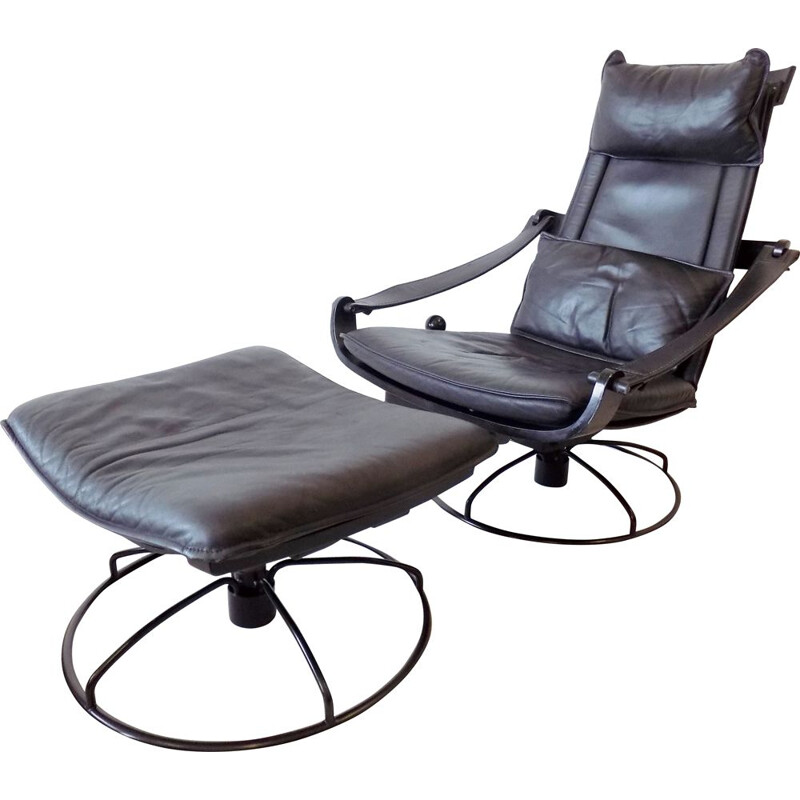 Vintage Ake Fribytter black leather lounge chair with ottoman for Nelo