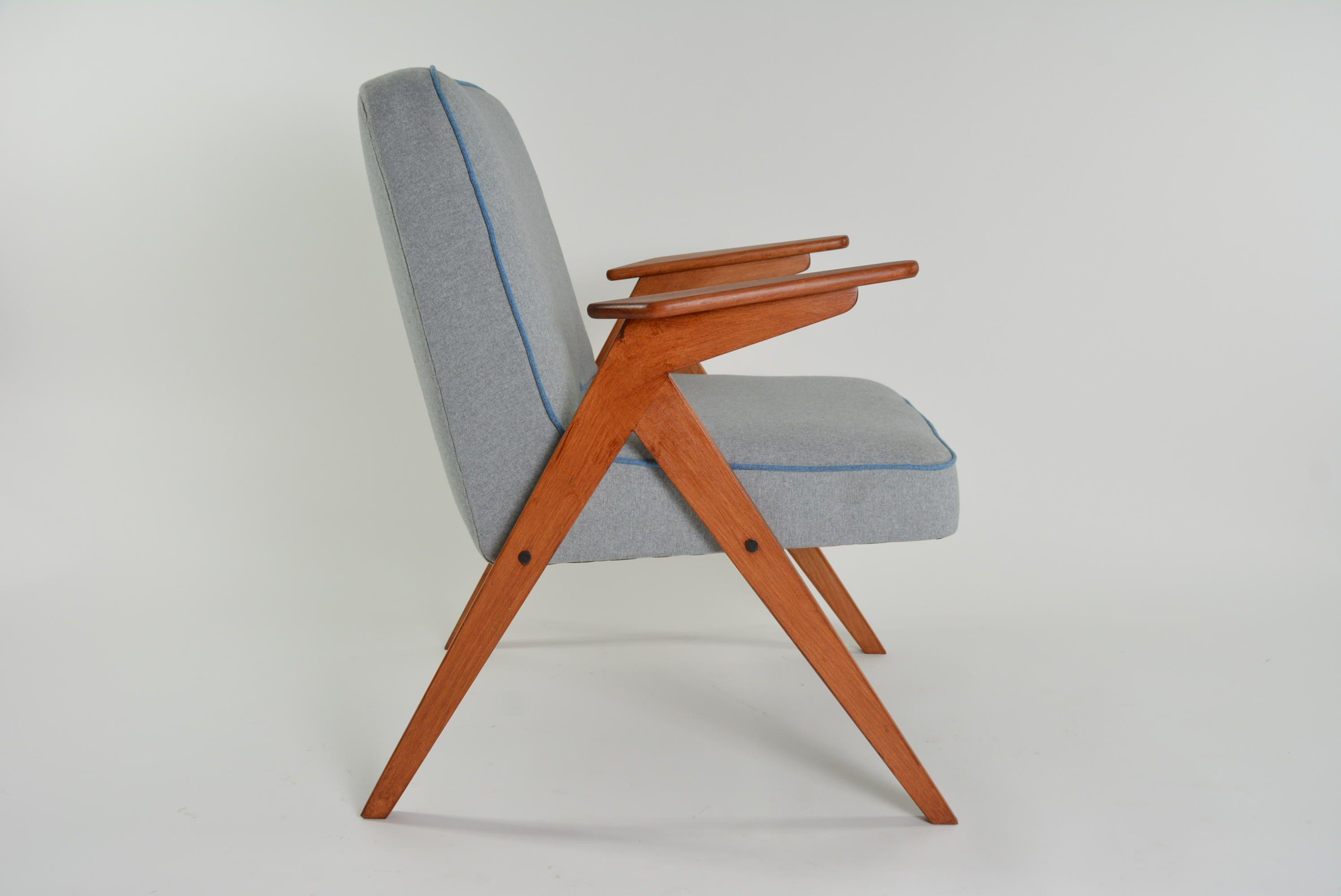 Vintage armchair BUNNY in grey color