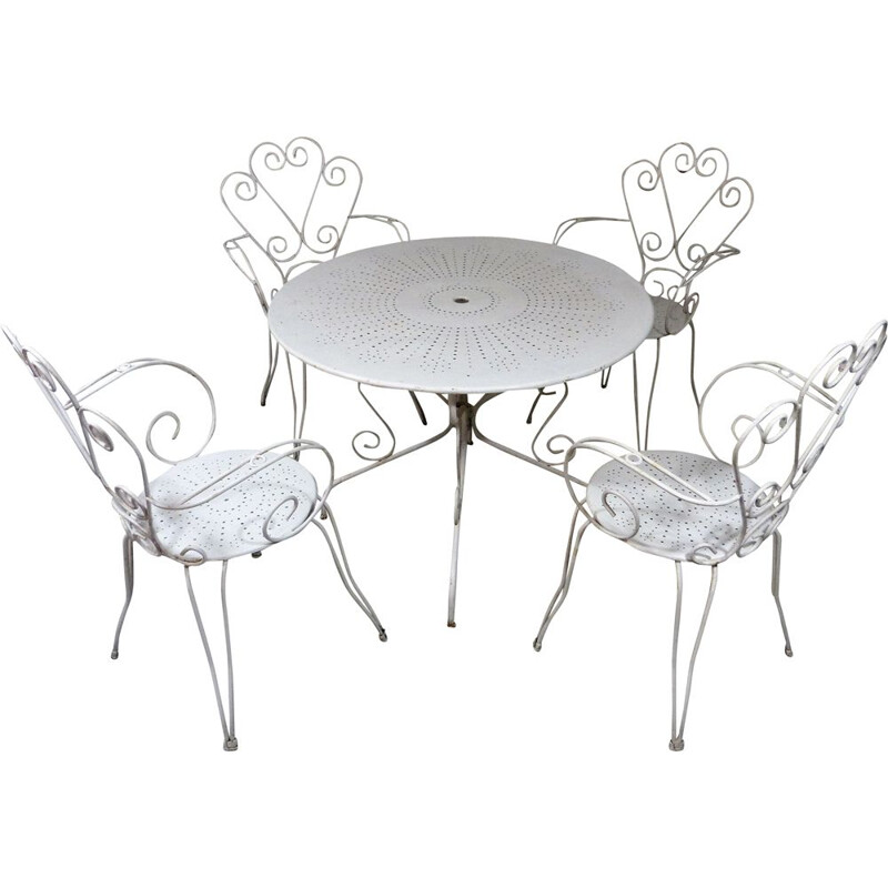 Vintage White iron garden set with table and 4 chairs