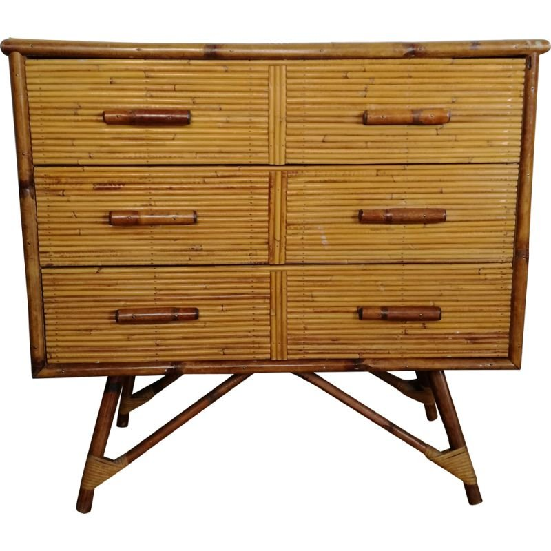 Vintage bamboo chest of drawers, France 1960s