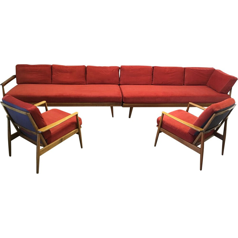 Modular vintage lounge set with 2 sofas and 2 armchairs design 1950.