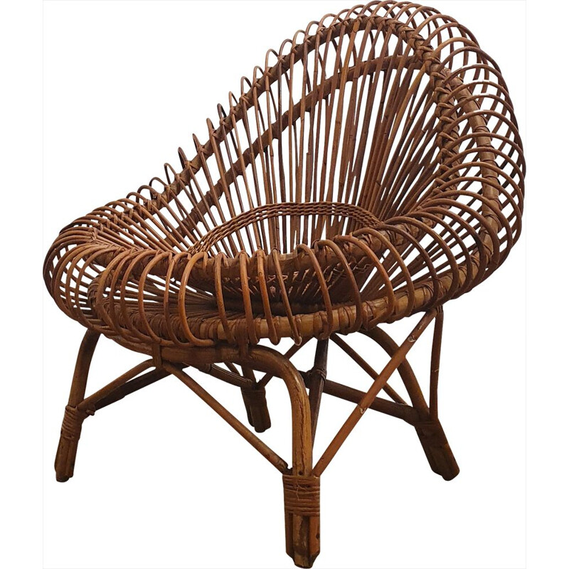 Vintage rattan armchair by Janine Abraham for Edition Rougier 1950
