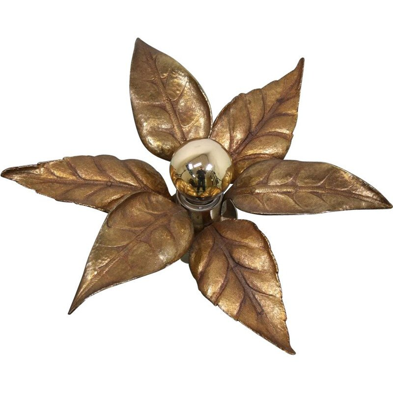 Vintage Golden Flower Wall Lamp by Willy Daro for Massive, 1970s