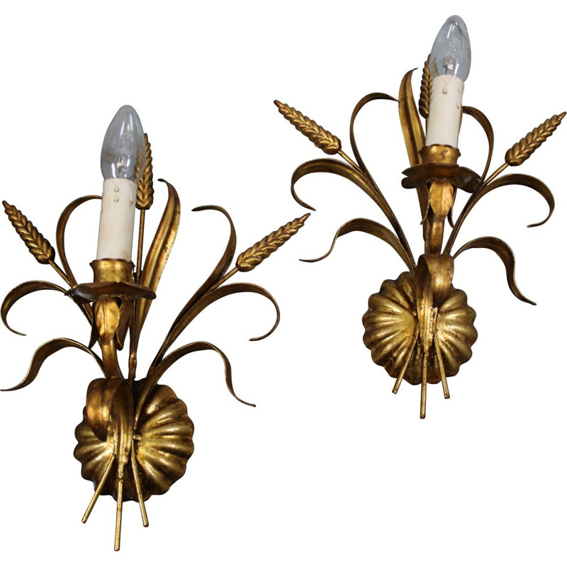 Pair of vintage Hollywood Regency Gilt Metal Wall Lamps by Hans Kögl, 1960s