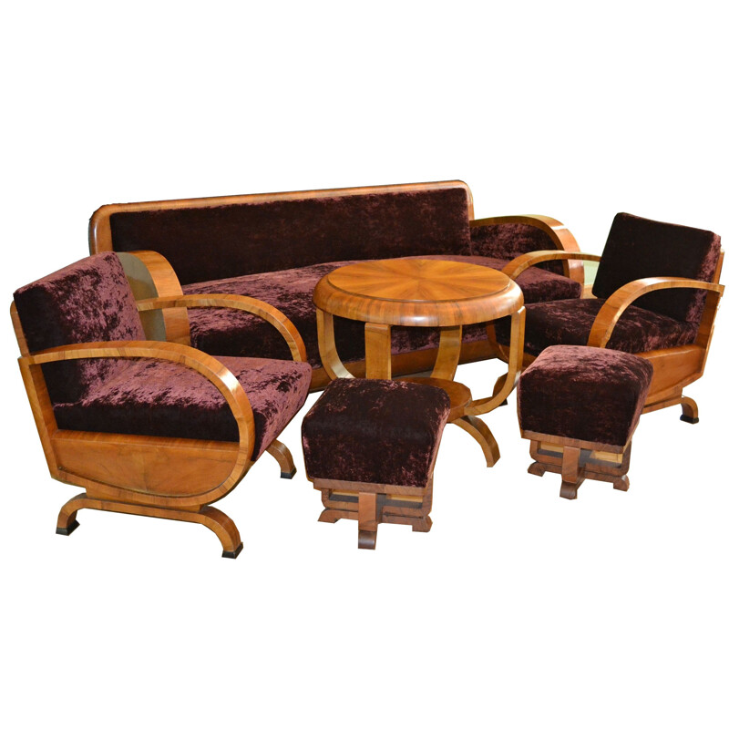 Vintage Art Deco Living Room Set, 1920s