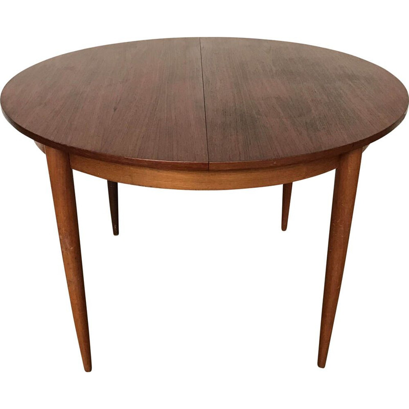 Vintage Scandinavian teak round table, 1960-1970