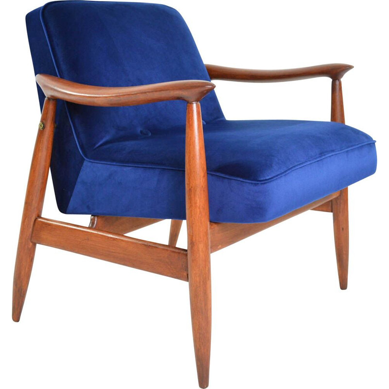 Vintage Warsaw armchair in Kanagawa blue color