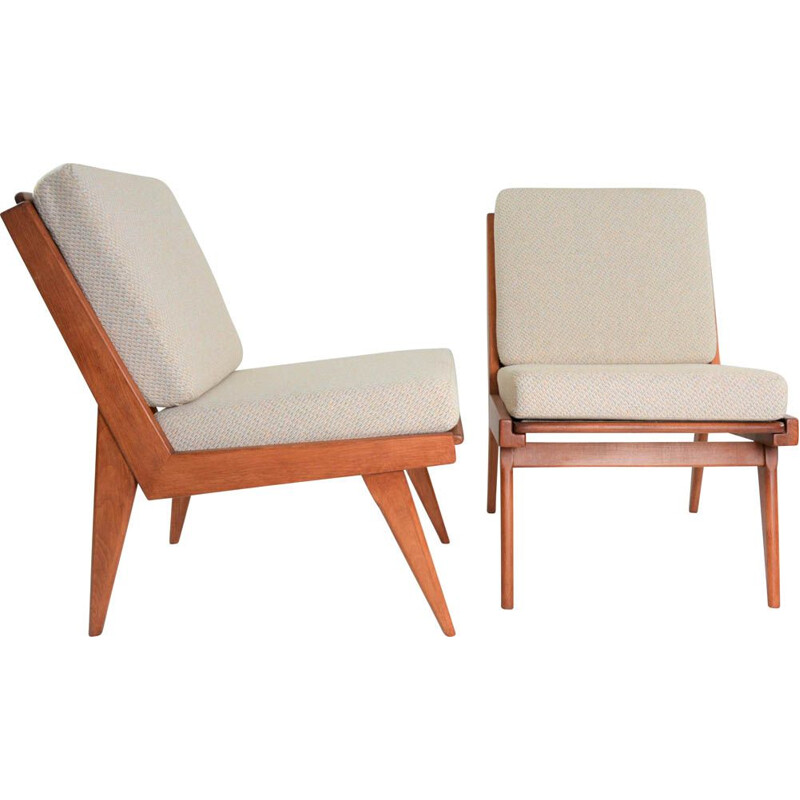 Vintage armchair without armrests beige-chiné, 1970