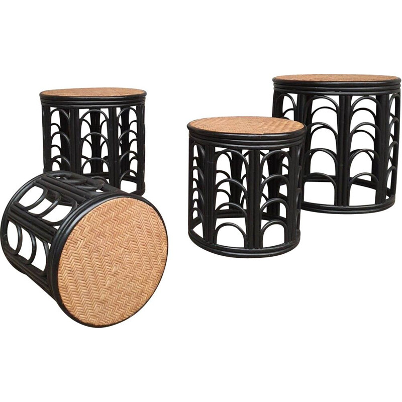 Set of 4 rattan stools, 1960