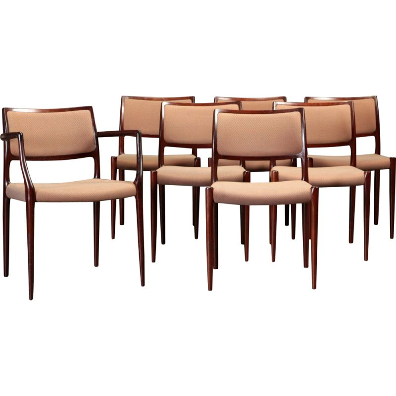 Vintage set of 7 dining chairs in mahogany by Niels Otto Moller, 1960