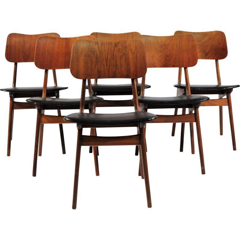Set of 6 vintage Danish teak dining chairs by Boltinge Stole, 1950