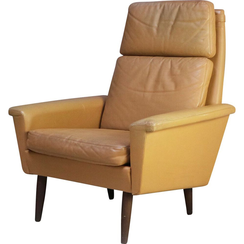 Vintage Danish leather armchair, 1960s