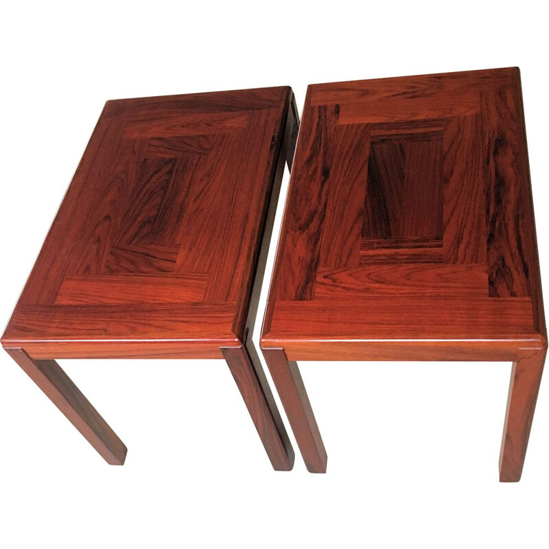 Set of 2 Danish sidetables in mahogany by Vejle Stole Fabrik, 1970s