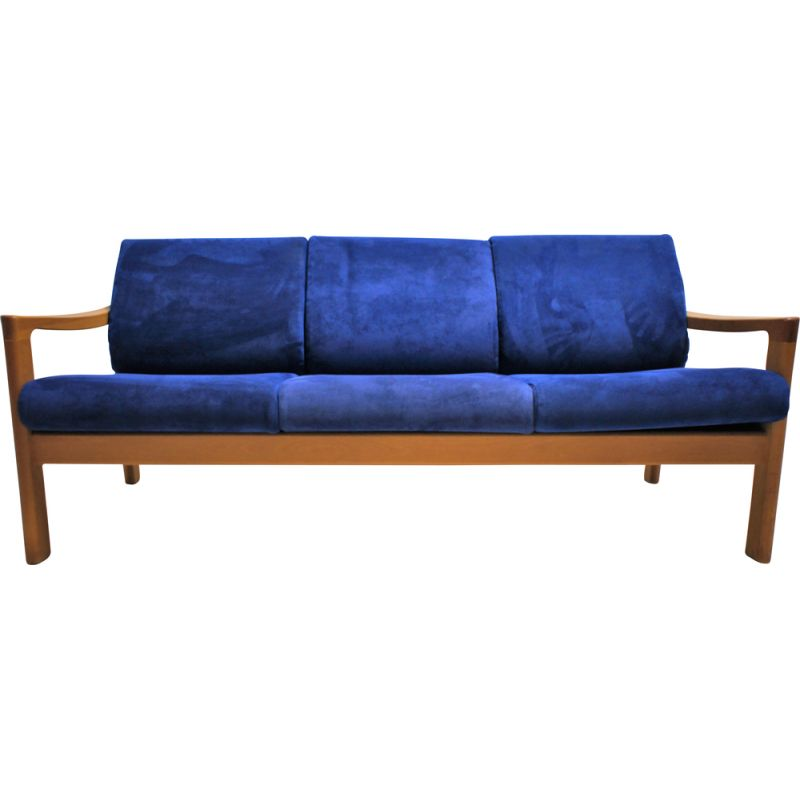Vintage Scandinavian sofa in natural wood and fabric