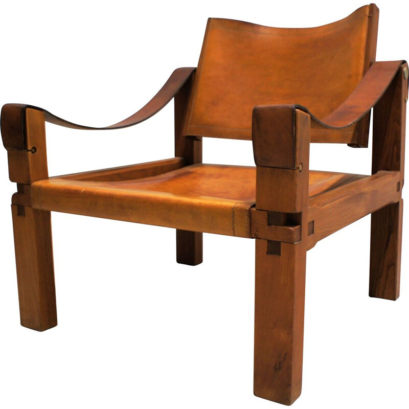 Sahara S10 vintage leather armchair by Pierre Chapo